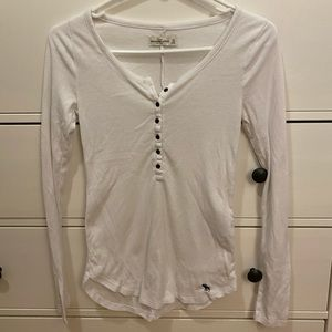 Abercrombie & Fitch - long sleeve white Henley top